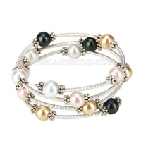 wholesale colorful silver plated Shell pearl adjustable bracelet