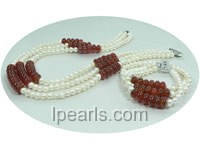 6-7mm white pearl and counting frame agate jewelry set
