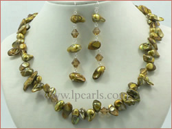 yellow freshwater jewelry pearl necklace, earring-sets