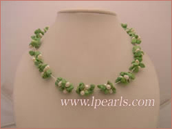 4-5mm white side-drilled pearls necklace with green turquoise