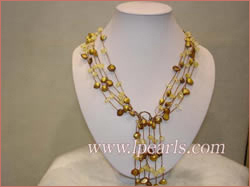 champagne blister freshwater pearl necklace with crystal beads