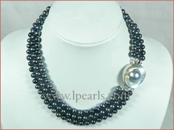 7-8mm gray cultured freshwater jewelry pearl necklace