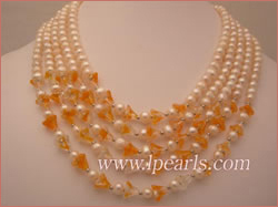 5 rows 6-7mm white freshwater jewelry pearl necklace with crytal