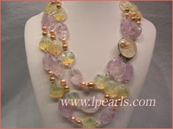 Amethyst and yellow crystal jewelry necklace with freshwater pea
