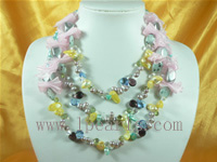 three rows rice blue jewelry pearl necklace