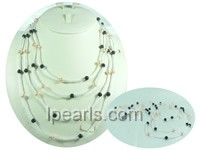 four rows 6-7mm fresh water jewelry pearl necklace