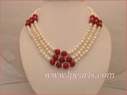 Precious three rows white fresh water jewelry pearl necklace wit