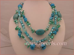 7*10mm green blister jewelry pearls and turquoise necklace