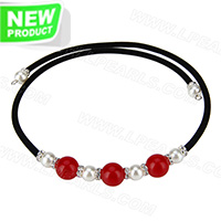 wholesale latest white and red onyx beads adjustable necklace