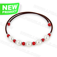 wholesale brown belt white and Red coral beads adjustable neckla