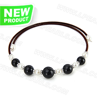 wholesale brown belt black agate beads adjustable necklace