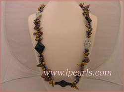 7-11m coffee blister pearl necklace with black keshi pearl