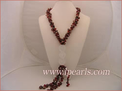 dazzling coffee and red necklace with double carved