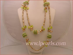 branch champagne pearl necklace with champagne blister pearl