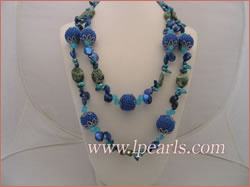 multiple jewelry pearls and beads long blue necklace