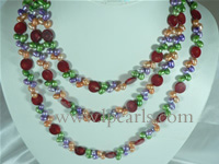 necklace made of multiplex pearls and beads long