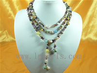 tourmaline beads and side drilled pearls long necklace
