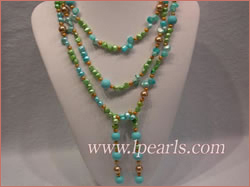 seashell blister and smooth on both sides pearls long necklace