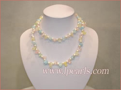 white Round freshwater pearl necklaces-irregular crystal beads