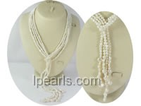 three strands smooth on both sides pearl necklace