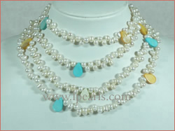 4-5mm white side-drilled pearl necklace with shells pearls