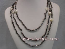 3-4mm black freshwater pearl necklace with white coin pearls