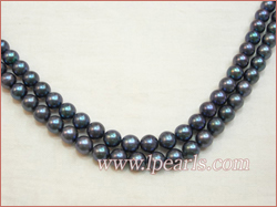 8-9 / 9-10mm Double strands black fresh water jewelry pearl neck