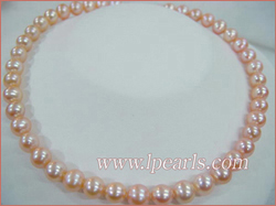 9-10mm AA pink cultured freshwater jewelry pearl necklace