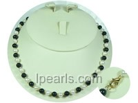 6-7mm white round jewelry pearls and black agates Freshwater pea
