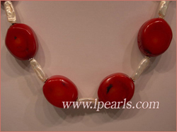 stick freshwater jewelry pearl necklace combining red coral bead