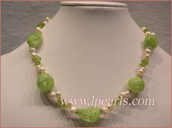 necklace with fresh water jewelry pearls & baroque crystal and z