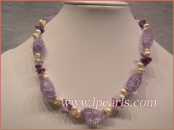 necklace made of white jewelry pearls & purple baroque crystals