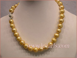 11-12mm yellow cultured freshwater jewelry pearl necklace