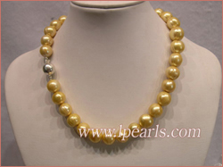 12-14mm golden yellow cultured freshwater jewelry pearl necklace