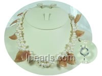6-7mm white cultured freshwater oval shape pearl necklace
