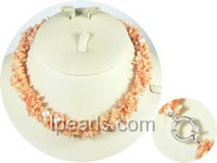 Freshwater pearl necklaces with pink Coral