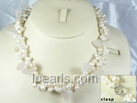 6-7mm side-drilled white freshwater pearl necklaces