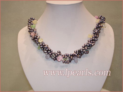 freshwater black pearl necklace-two twisted strands