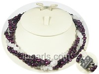 pearl necklace with crystal beads-4 twisted strands