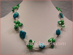 Three strands blister pearl necklace with shell buggets