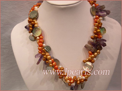 top drill pearl necklace with shell beads-3 twisted strands