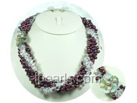 top drill pearl necklace with crystals-4 twisted strands