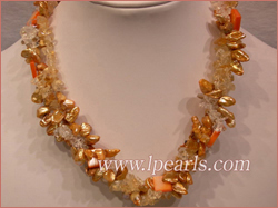 keshi pearl necklace with crystal and shell beads
