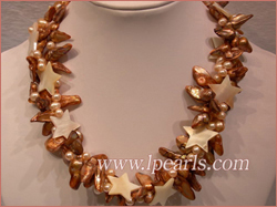 blister pearl necklace with shell beads