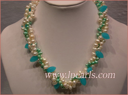 side drilled pearl necklace with crystal beads
