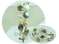 two rows 12mm coin jewelry pearl bracelet