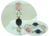 5mm white and pink potato freshwater pearl stretch bracelet