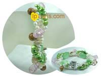 12mm green coin freshwater jewelry pearl bracelet