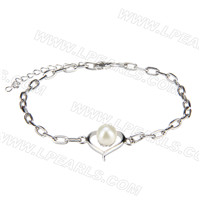 New 925 sterling silver Heart shape Akoya pearl bracelet