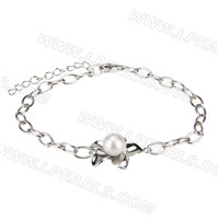 New 925 sterling silver Flower shape Akoya pearl bracelet